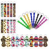 10 pcs Chapstick Holder Keychains with 10 pcs Neoprene Wristlet Keychain Lanyards & 10 pcs Aluminum Key Chain, Vibrant Lip Balm Keychain Holder, Chapstick Keyring Holder Lipstick Holder Keychains