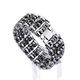 Mens Skull Head Bracelets, Amazing 316L Silver Polished Stainless Steel Link Curb Chain Charms, Biker Gothic, Vintage,20cm