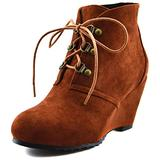 Mekereke Women's Classic Brown Faux Suede Wedge Boots Flat High Heel Pointed Toe Lace Up Ankle Booties Fashion Casual Wedge Bootie For Women (Size:7.5)