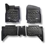 Floor Mats for Ford Ranger 2015-2018 3D TPE All Weather Protection Floor Liner Custom Full Set Liners Include 1st and 2nd Row Front & Rear Black Car Liners Durable Odorless TPE Floor Carpet Liner