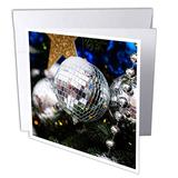 3dRose Beautiful White Glass Ornament Ball, Beads, Star. Christmas. - Greeting Cards (gc_340392_2)