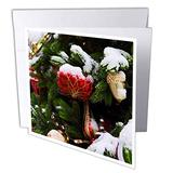 3dRose Red Glass Strawberry Ornament on a Snow-Covered Christmas Tree - Greeting Cards (gc_340403_2)
