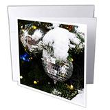 3dRose White Glass Ornament Balls on a Snow-Covered Christmas Tree. - Greeting Cards (gc_340391_2)