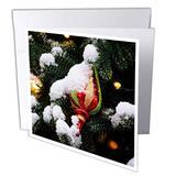 3dRose Snow-Covered Colorful Glass Ornament Cone on a Christmas Tree - Greeting Cards (gc_340404_2)