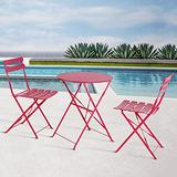 OC Orange-Casual 3-Piece Outdoor Furniture Set, Premium Steel Patio Stripe Small Bistro Set, Folding Dining Table and Chairs for Porch Balcony, Rose Red