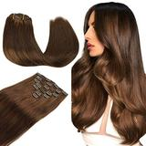 Wennalife Clip in Human Hair Extensions, 18 Inch 120g 7pcs Chocolate Brown Hair Extensions Clip in Human Hair Remy Clip in Hair Extensions Real Human Hair Double Weft