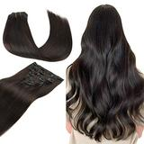 Wennalife Clip in Human Hair Extensions, 18 Inch 120g 7pcs Dark Brown Hair Extensions Clip In Human Hair Remy Clip in Hair Extensions Real Human Hair Double Weft