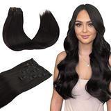 Wennalife Clip in Human Hair Extensions, 18 Inch 120g 7pcs Natural Black Hair Extensions Clip In Human Hair Remy Clip in Hair Extensions Real Human Hair Double Weft