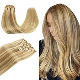 WENNALIFE Clip in Human Hair Extensions, 18 Inch 120g 7pcs Light Blonde Highlighted Golden Blonde Hair Extensions Clip In Human Hair Remy Clip in Hair Extensions Real Human Hair Double Weft