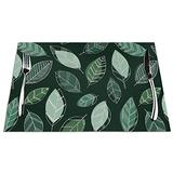 Green Leaves Placemats for Dining Table Tropical Green Geometric Simple Striped Texture Leaves PVC Placemats Vintage Leaves Sketch Shadow Modern Christmas Placemats Heat Resistant