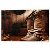 RSADGER Vintage American Western Cabin Cowboy Boot Christmas Puzzles for Adults 1000 Piece Kids Game Toys Gift Home Decor