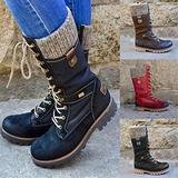 DBWICH Women's Ankle Bootie Winter Lace Up Mid Calf Military Combat Boots, Biker Shoes Army, Flat Mid Calf Boots for Women, Ladies Outdoor Casual Retro Female Trainer Boots (Black, 6)