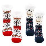2 Pairs Women Slipper Socks, Thermal Sherpa Socks, Non-Slip Fuzzy Sock for Xmas, Warm Cozy Fleece Slipper Sock, Elk, Snow flake, One Size