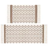 Pauwer Cotton Area Rug Set 2 Piece 2'x4.2'+2'x3' Hand Woven Cotton Rugs with Tassel Washable Printed Cotton Throw Rugs Runner for Kitchen, Living Room, Bedroom