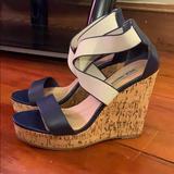 Jessica Simpson Shoes | Jessica Simpson Wedge Sandal | Color: Blue/Cream | Size: 10