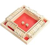 2-4 Players Shut the Box Wooden Table Game Classic Dice Board Toy Christmas Wooden Board Game Classics Tabletop Version Pub Board for Family Educational Toys for Kids + Adults (Red)