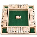 2-4 Players Shut the Box Wooden Table Game Classic Dice Board Toy Christmas Wooden Board Game Classics Tabletop Version Pub Board for Family Educational Toys for Kids + Adults (Green)