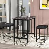 17 Stories Herschfield 3 - Piece Dining SetWood/Metal/Upholstered Chairs in Black/Brown/Gray, Size 31.6 H x 35.5 W x 23.6 D in   Wayfair