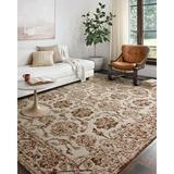 Charlton Home® Engli Floral Hand Hooked Wool Cream/Area RugWool in Brown, Size 117.0 H x 93.0 W x 0.5 D in   Wayfair