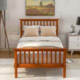 Red Barrel Studio® Devry Twin Platform Bed Wood in Brown, Size 43.0 W x 80.0 D in | Wayfair 54F1D27B3E7D4235823E29F37C9E07C6