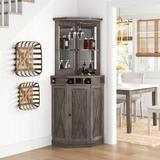 Sand & Stable™ Adam Bar w/ Wine Storage Wood in Gray, Size 72.4 H x 23.62 D in   Wayfair CE2C0DCA1CD04884B708AC38F56AEBD5