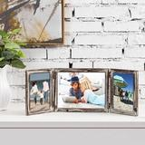 Gracie Oaks Muski Opening Tabletop Torched Wood Picture Frame Wood in Brown/Gray, Size 7.25 H x 17.25 W x 16.53 D in | Wayfair
