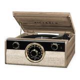 Victrola Wood Metropolitan Bluetooth Decorative Record Player w/ 3-Speed Turntable & Radio in Brown, Size 15.4 H x 15.4 W x 6.7 D in | Wayfair