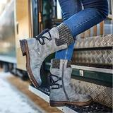 Women Arched Support Warm Snow Boots - Women's Winter Warm Back Lace Up Snow Boots, Winter Outdoor Waterproof Anti-Slip Durable Bootie, Fur Lined Knit Mid Calf Military Combat Boots (Gray, 12)