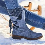 DZT1968 Women Arched Support Warm Snow Boots - Women's Winter Warm Back Lace Up Snow Boots, Winter Outdoor Waterproof Anti-Slip Durable Bootie, Fur Lined Knit Mid Calf Military Combat Boots (Blue, 7)