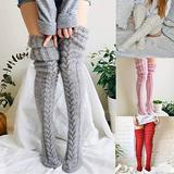 Autumn And Winter Women Woolen Socks Knitted Stockings - Sexy Cable Knit Knee-High Boot Socks, Fashion Stretchy Extra Long Thigh Leg Warmers Stocking, Thigh-High Warm Leggings for Ladies Girls (Pink)