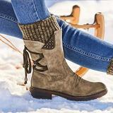 Women Arched Support Warm Snow Boots - Women's Winter Warm Back Lace Up Snow Boots, Winter Outdoor Waterproof Anti-Slip Durable Bootie, Fur Lined Knit Mid Calf Military Combat Boots (Brown, 6)