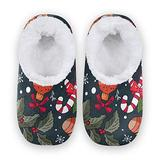 Women Home Slippers, Winter Holiday Background Coral Fleece Slippers Mens House Shoes for Home, (US 7-8)