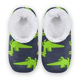 Women Home Slippers, Green Dragon Coral Fleece Slippers Mens House Shoes for Home, (US 7-8)