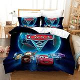 Kids Bedding Set Twin Cars Duvet Cover Set Bed Sets,Girls Boys Cars Bedding Lightning McQueen Bedding Twin 3Piece Duvet Cover Set Bedsets Bedding Cover