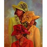 Iyyuor African American Church Hats Diamond Painting by Number Kits, Full Drill Crystal Acrylic Diamond Embroidery Painting Pictures Art Craft for Wedding Bedroom Decoration(Square 50x60cm)