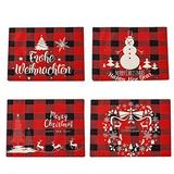 Christmas Placemats Set of 4 ,Dining Table,Washable Xmas New Year Table Mats for Table Kitchen Decorations (Red, 11.815.7inch)