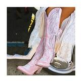 GJHYJK Women Western Cowboy Riding Boots Large Size Knee High Boots Pointed Toe High Block Heel Boots Comfortable Embroidered Long Boots,Pink-38