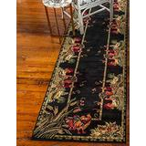 Unique Loom Barnyard Collection French Country Cottage Roosters Runner Rug (2' 7 x 12' 0), Black/Ivory