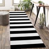 Black and White Striped Rug Runner 2' x 6' Stripe Farmhouse Runner Rug Hallway Runner Rug Cotton Woven Washable Indoor Outdoor Rug for Kitchen/Laundry/Bathroom/Bedroom/Living Room Carpet Runner