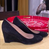 J. Crew Shoes | J.Crew Black Suede Wedge Pumps 3 Heel | Color: Black | Size: 9.5