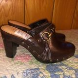 Coach Shoes | New Chocolate Brown Coach Suede Leather Clogs 5.5 | Color: Brown/Gold | Size: 5.5