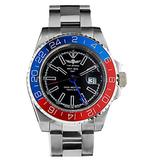 Time Warrior Navy Seal Swiss Men's GMT Watch Black Dial, 316L CASE - Red and Blue Bezel, Ronda 505 Swiss Quartz Movement, Men's Watch Pro Diver Watch, Sapphire Glass (Red and Blue)