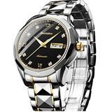 Mechanical Watch,Automatic Watches for Men Swiss Wrist Watches Luxury Sapphire Crystal Diamond Watch Day and Date Black Dial Waterproof Tungsten Steel Self Winding Watch Big Face,reloj para Hombre