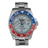 Time Warrior Navy Seal Swiss Men's GMT Watch White Dial, 316L CASE - Blue and Red Bezel, Ronda 505 Swiss Quartz Movement, Men's Watch Pro Diver Watch, Sapphire Glass (Red and Blue with White Dial)