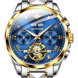 Mechanical Men's Wrist Watches,OUPINKE Swiss Automatic Watches Blue Face Tungsten Steel Tourbillon Watch Skeleton Self Winding Without Battery Sapphire Crystal Luxury Watches for Men,relojes de Hombre