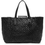 Eitenne Aigner Irene Woven Leather Tote - Black - Etienne Aigner Totes