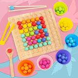 Wooden Go Games Set Dots Shuttle Beads Board Games, Educational Montessori Wooden Board Games, Preschool Learning Toys Gift for Toddlers, Child Interaction Birthday Gift (A-Colorful, One Size)
