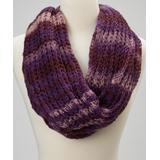 Raj Imports Women's Cold Weather Scarves ppl - Purple Soft Stripe Infinity Scarf - Women