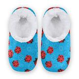 Women Home Slippers, Ladybugs With Flowers Coral Fleece Slippers Mens House Shoes for Home, (US 9-10)