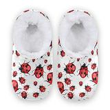 Women Home Slippers, Red Lady Bug Coral Fleece Slippers Mens House Shoes for Home, (US 7-8)